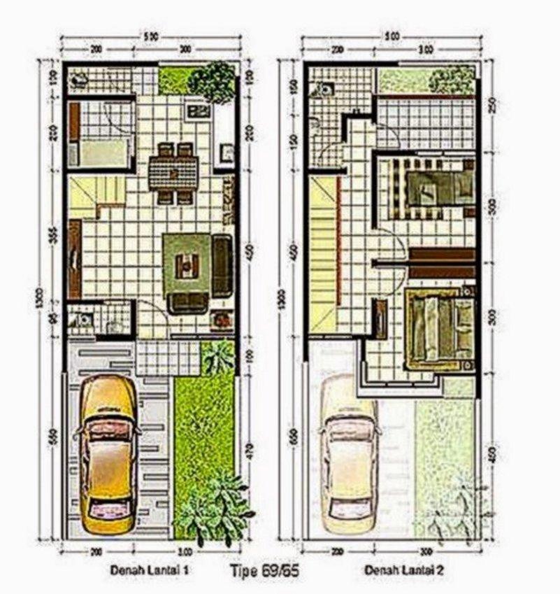 denah rumah minimalis 6x11 2 lantai yang minimalis