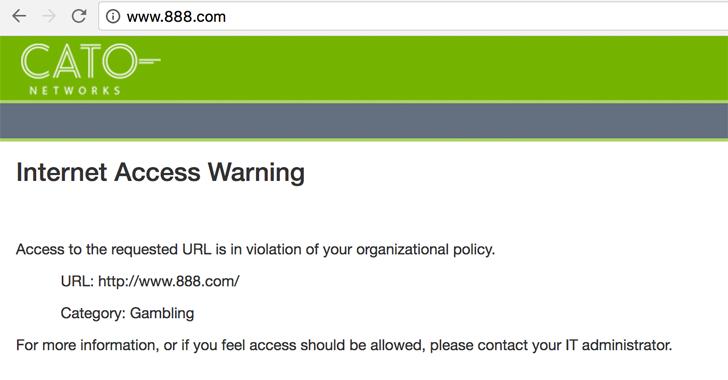 Figure 20: Cato blocks browsing to gambling website