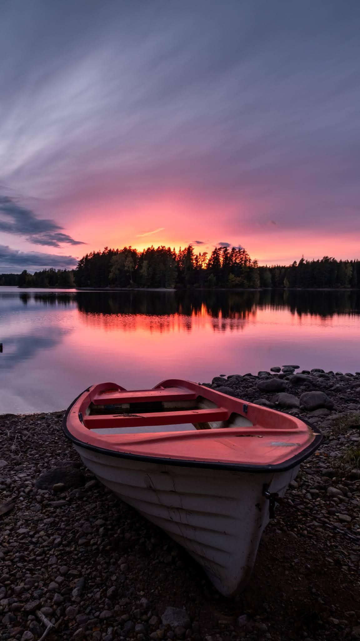 Boat on Coast Evening Sunset wallpaper