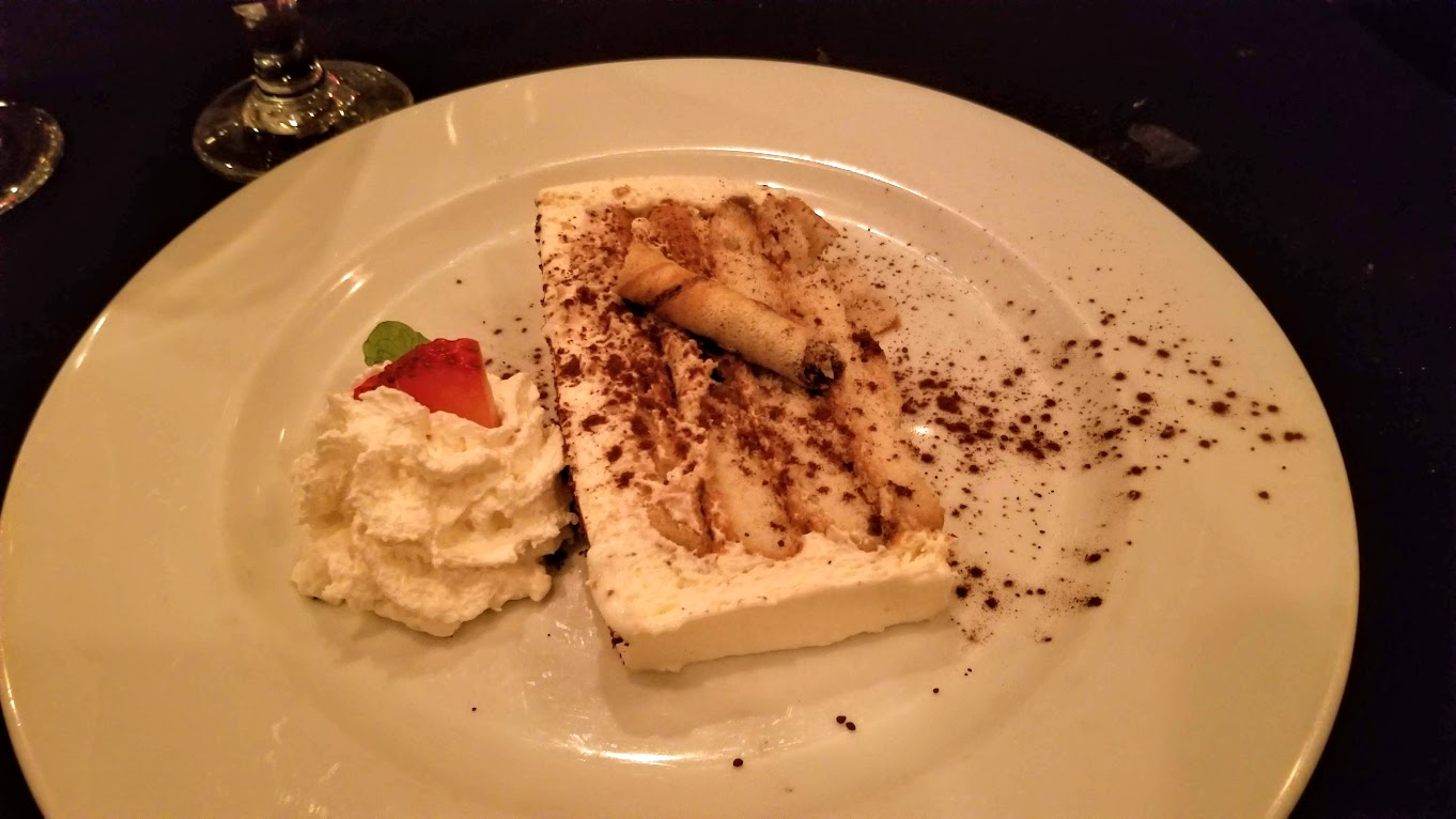 Homemade tiramisu + whipped cream from Giovanni's, Detroit