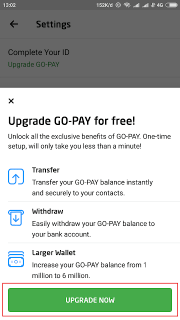 verifikasi upgrade gopay
