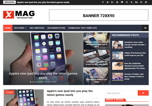 X-Mag mobile friendly blogger template