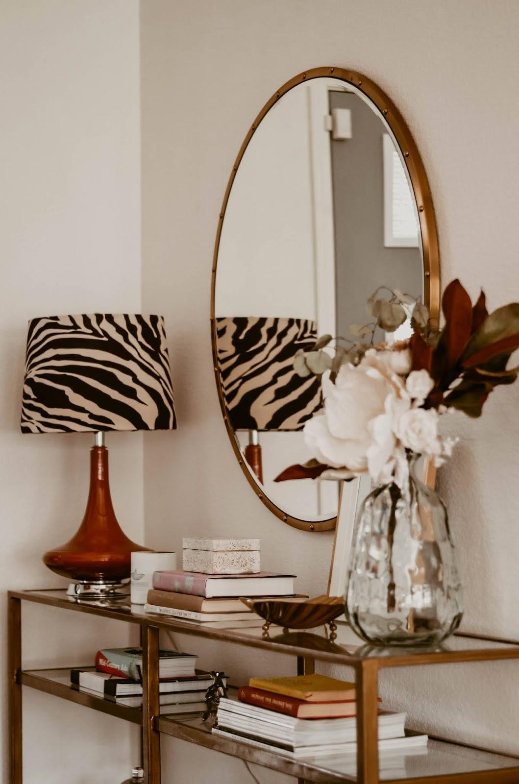 midcentury-lampshade-diy-makeover-chocolate-brown-and-cream-zebra-animal-print-skirt-fabric-lampshade-diy-makeover