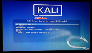 Kali Linux Installer Menu (BIOS Mode)  Salah Type Memilih Kali Linux Untuk Live USB