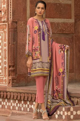 Warda Printed Khaddar shirt with dupatta pink color winter unstitched collection