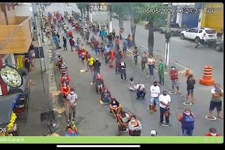 Em Guarabira PB, Câmeras da STTrans registam trabalho feito pelo 4° BPM  em frente da CAIXA econômica