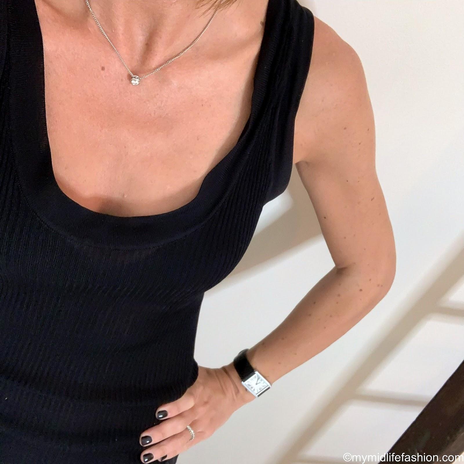 my midlife fashion, Zara ribbed knitted vest top, Isabel Marant Etoile metallic stripe midi skirt, Ancient Greek morfi beige leather sandals