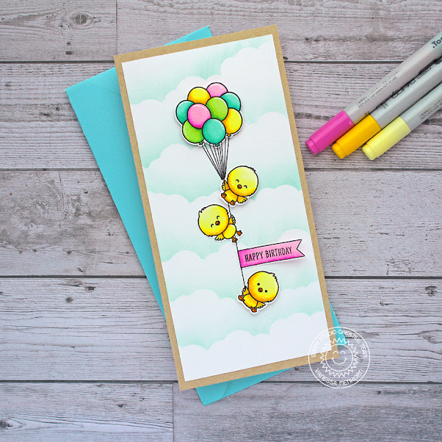 Sunny Studio Stamps: Floating By Chickie Baby Banner Basics Fluffy Clouds Border Dies Happy Birthday Card by Vanessa Menhorn
