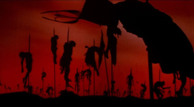Silhouettes of Turkish soldiers on stakes