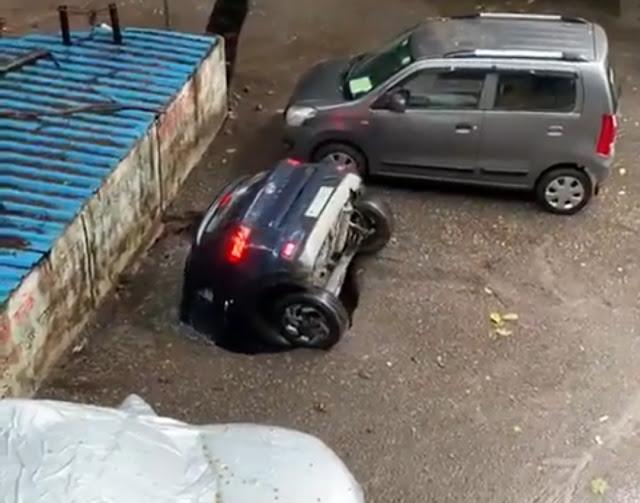 Rainy Season Be Safe, Video of a Car in Ghatkopar, Mumbai . . .