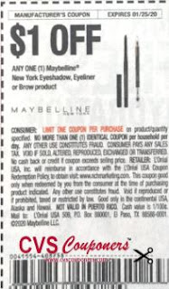 """Maybelline New York Eyeshadow, Eyeliner Or Brow Product """"limit 1"""" Coupon from """"RetailMeNot"""" insert week of 1/5/20 (EXP1/25)."""