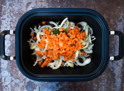 Slow Cooker Vegan Savoury Mince - Step 4 - Carrots added to the pan