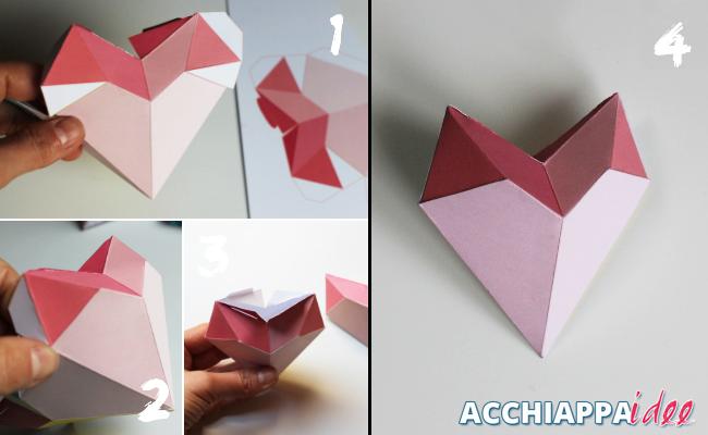 Tutorial per realizzare una Scatola a forma di cuore 3d di carta per San Valentino