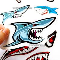 set tem xe cá mập xanh