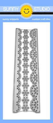 Sunny Studio Stamps: Eyelet Lace Daisy Flower Scalloped Border Standalone Metal Cutting Dies