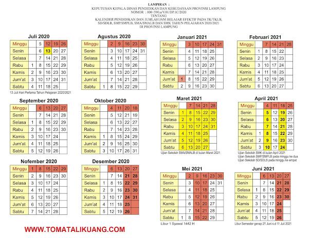 kalender pendidikan lampung 2020/2021 semester 1; kalender pendidikan lampung 2020/2021 semester 2; tomatalikuang.com