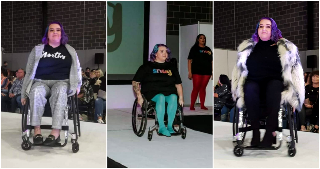all 3 photos are of beth on the catwalk in her wheelchair in different outfits