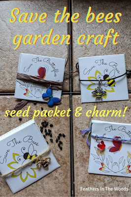 Homemade seed packets with butterfly and bee charms, craft