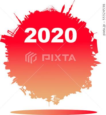 イラスト制作、ストックイラスト、2020年年が素材