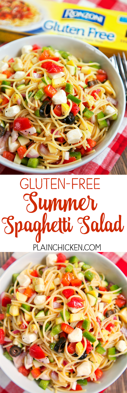 Gluten-Free Summer Spaghetti Salad - nobody will ever know this is gluten-free! Made this for a potluck and everyone raved about it! Pasta salad loaded with squash, zucchini, red bell pepper, green bell pepper, red onion, tomatoes, olives, and mozzarella - all tossed in Italian dressing - SO good!
