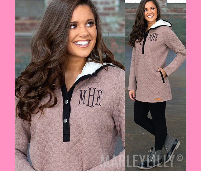 hoodie with sherpa hood and monogram