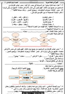 مذكرة لغة عربية الصف الرابع الابتدائى الترم الاول