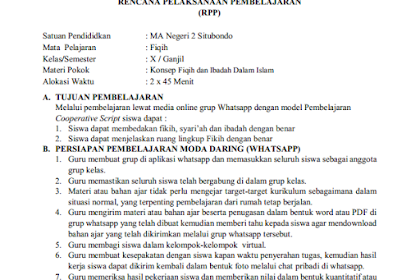 RPP Daring Konsep Fiqih dan Ibadah dalam Islam (Kelas 10 MA)
