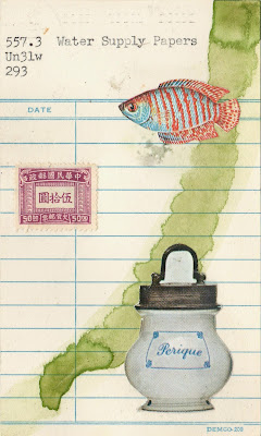 Deleuze's univocity of being library due date card tropical fish Chinese postage stamp Perique tobacco jar dada Fluxus mail art collage