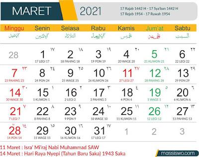 Template Kalender 2021 Bulan Maret