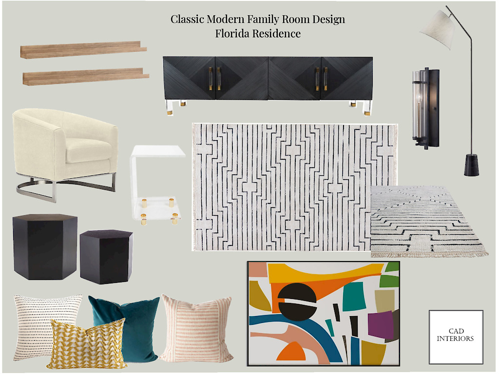 CAD Interiors online interior e-design virtual design decorating mood board classic modern family living room transitional eclectic black white teal ivory cream blue mustard wood pink