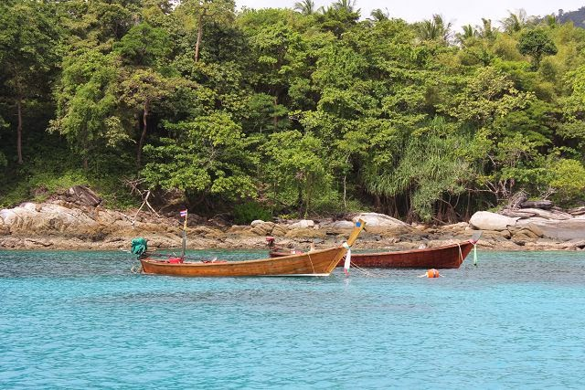 Long Tail Boats at Racha Yai Island, a Island Paradise south of Phuket