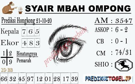 Syair Mbah Ompong HK Rabu 21 Oktober 2020