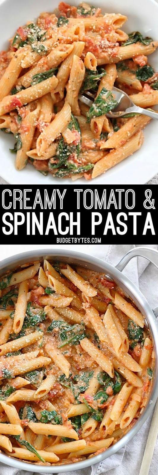 Creamy Tomato And Spínach Pasta
