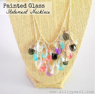 Painted Glass Statement Necklace