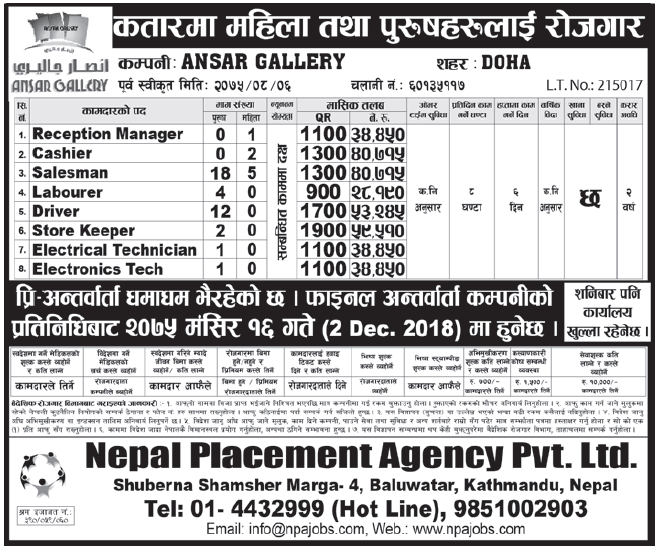 Jobs in Qatar for Nepali, Salary Rs 59,510