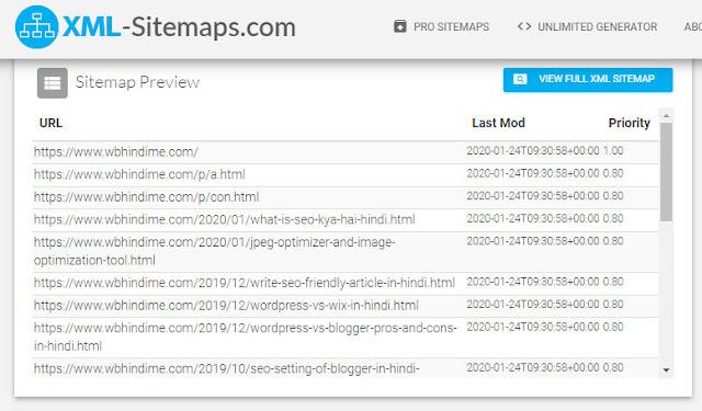 XML-sitemap-generator