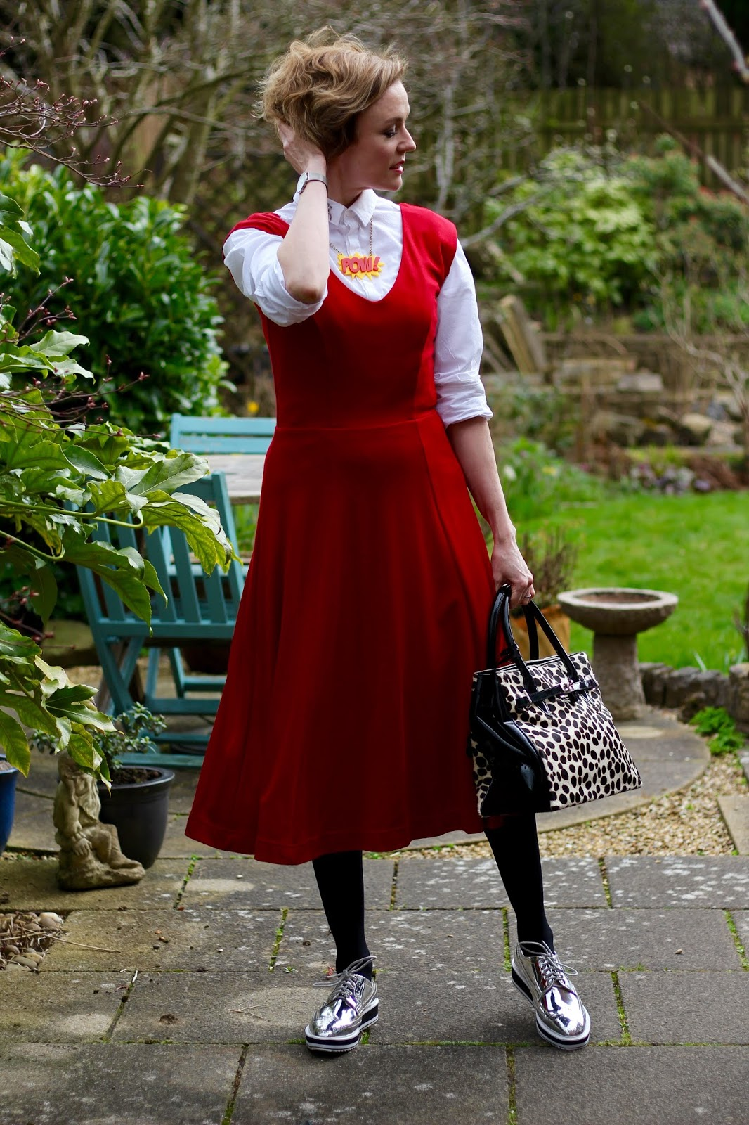 Layered White Shirt under a Red Midi Dress | Fake Fabulous
