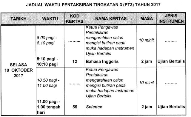 JADUAL WAKTU PENTAKSIRAN TINGKATAN 3 (PT3) TAHUN 2017