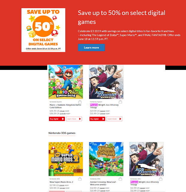 Nintendo E3 2019 digital sale Phoenix Wright Ace Attorney Trilogy