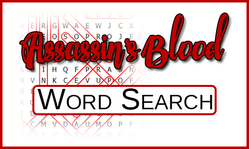 Assassin's Blood Word Search over a dummy word search on white