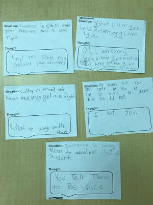 Students created their own situation cards with their response as an exit ticket for the lesson plan on social filters
