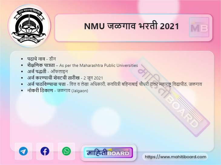 NMU Jalgaon Recruitment 2021