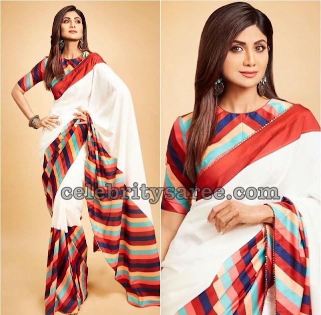 Shila Shetty Off White Saree