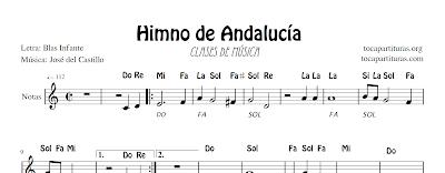 Himno de Andalucía Partitura Fácil con Notas y Ficha para Clases de Música (Primaria y Secundaria) incluye la Letra para cantar, acordes de acompañamiento para tocar guitarra, y escudo y bandera para colorear