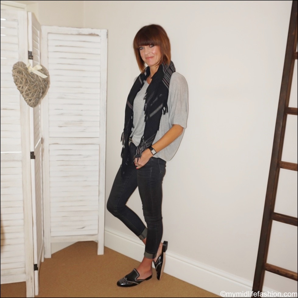 my midlife fashion, Isabel Marant Etoile stripe cotton scarf, j crew studded leather mules, j crew 9 inch toothpick skinny jeans in charcoal wash, splendid batwing t shirt