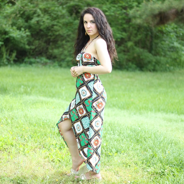 Green Nautical Print Dress
