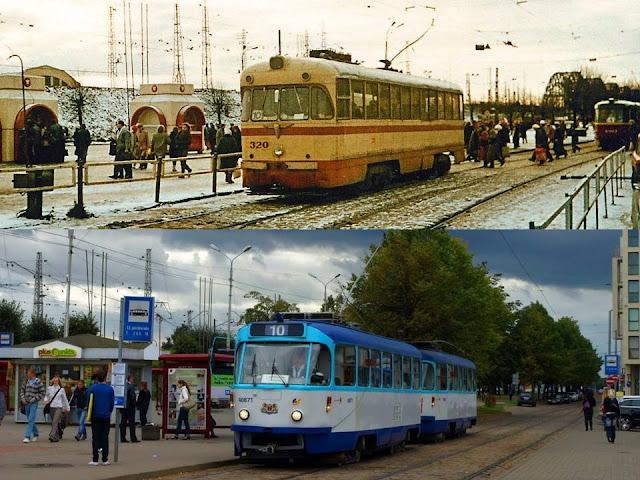 Рига. Трамвай № 10 на улице 13 января в 1980-е годы и в 2009-м году