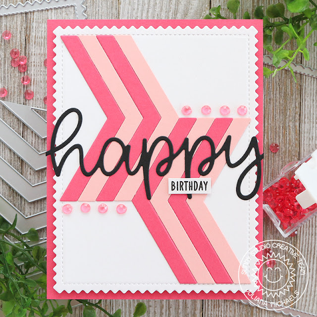 Happy Birthday Card by Juliana Michaels featuring Sunny Studio Stamps Frilly Frame Chevron Die