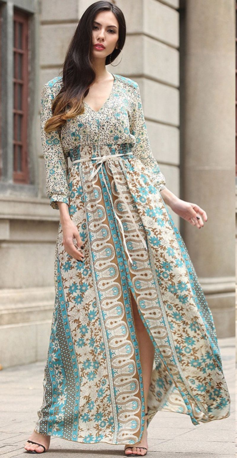 Womail New Vintage Long Sleeve Dress Beach Vintage Maxi Dresses Boho Casual V Neck Belt Lace Up Tunic Draped Plus Size