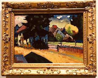 The State Hermitage Museum's oil on card by Wassily Kandinsky entitled 'View of Murnau: landscape with a green house', 1908